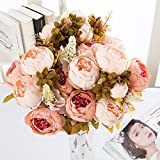 Lanyifang Ramo de Flores de Peonia Artificiales Ramo de Flores de Seda 13 Cabezas para Decoración Casa Nupcial Boda Partido Festival Bar (Champagne)