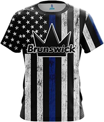 Amazon.com: CoolWick Mens Brunswick Blue Line Bowling Jersey ...