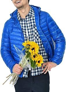 Crownbee ダウンジャケット メンズ 暖かい 軽量 防寒 防風 ウルトラライト ダウンコート 登山 アウトドア カジュアル 収納袋付き 春 秋 冬 c130