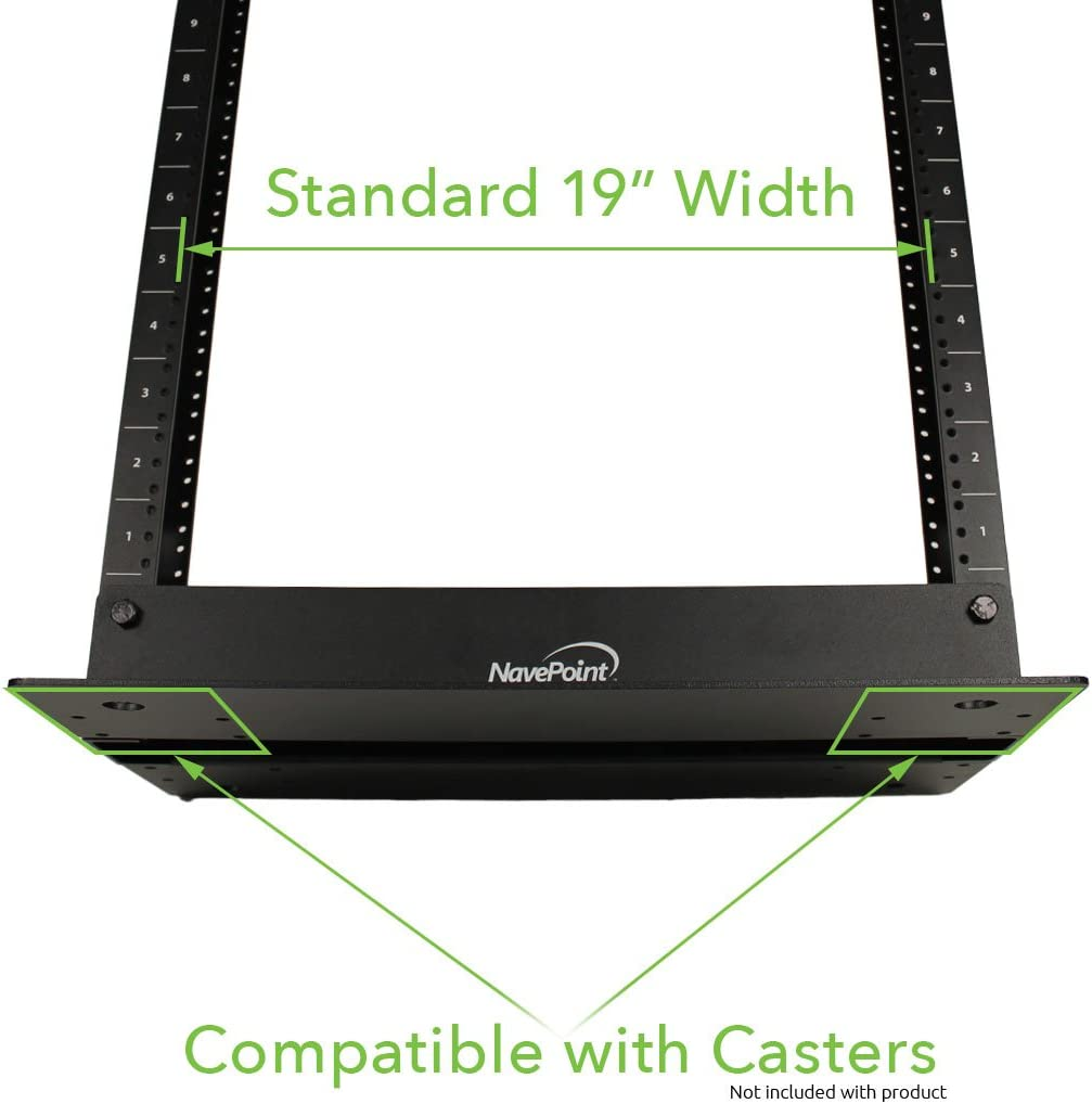 NavePoint 13U 2 Post Open Frame Server Networking Rack Threaded Hole Cable Management Blk