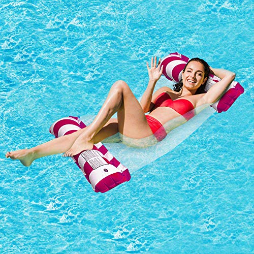 FANIER Aufblasbares Schwimmbett, 4-in-1 Wasser-Hängematte Loungesessel Pool Lounge luftmatratze Pool aufblasbare hängematte Pool aufblasbare hängematte Tragbarer Schwimmstuhl (Rose Red gestreift)