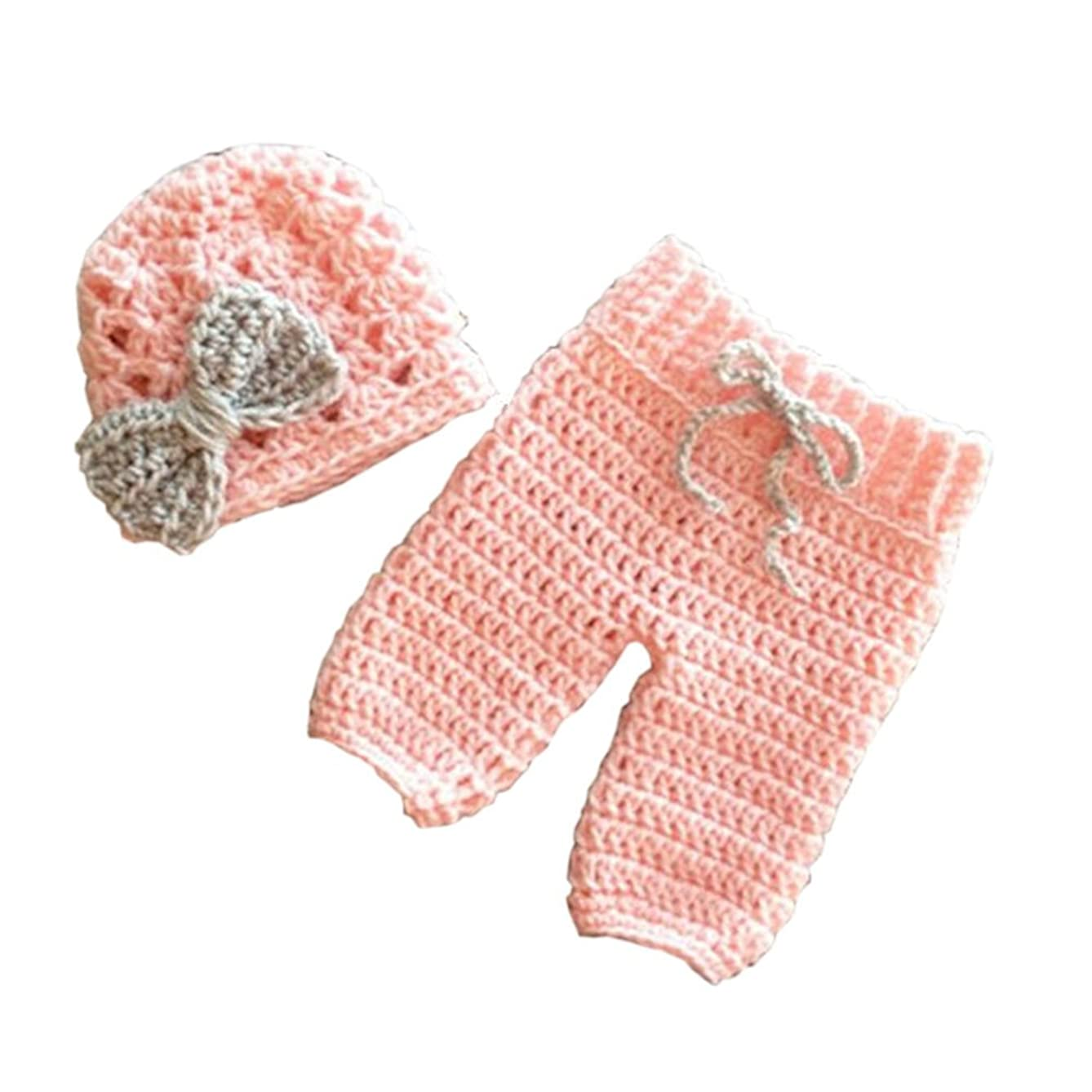 Pinbo? Newborn Baby Girls Photography Prop Crochet Bowknot Hat Pants