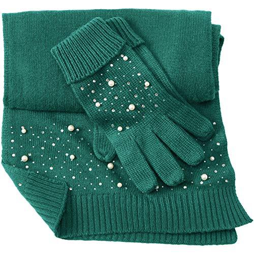 Cotton Cashmere Scarf And Glove Set - Dark Emerald, 0