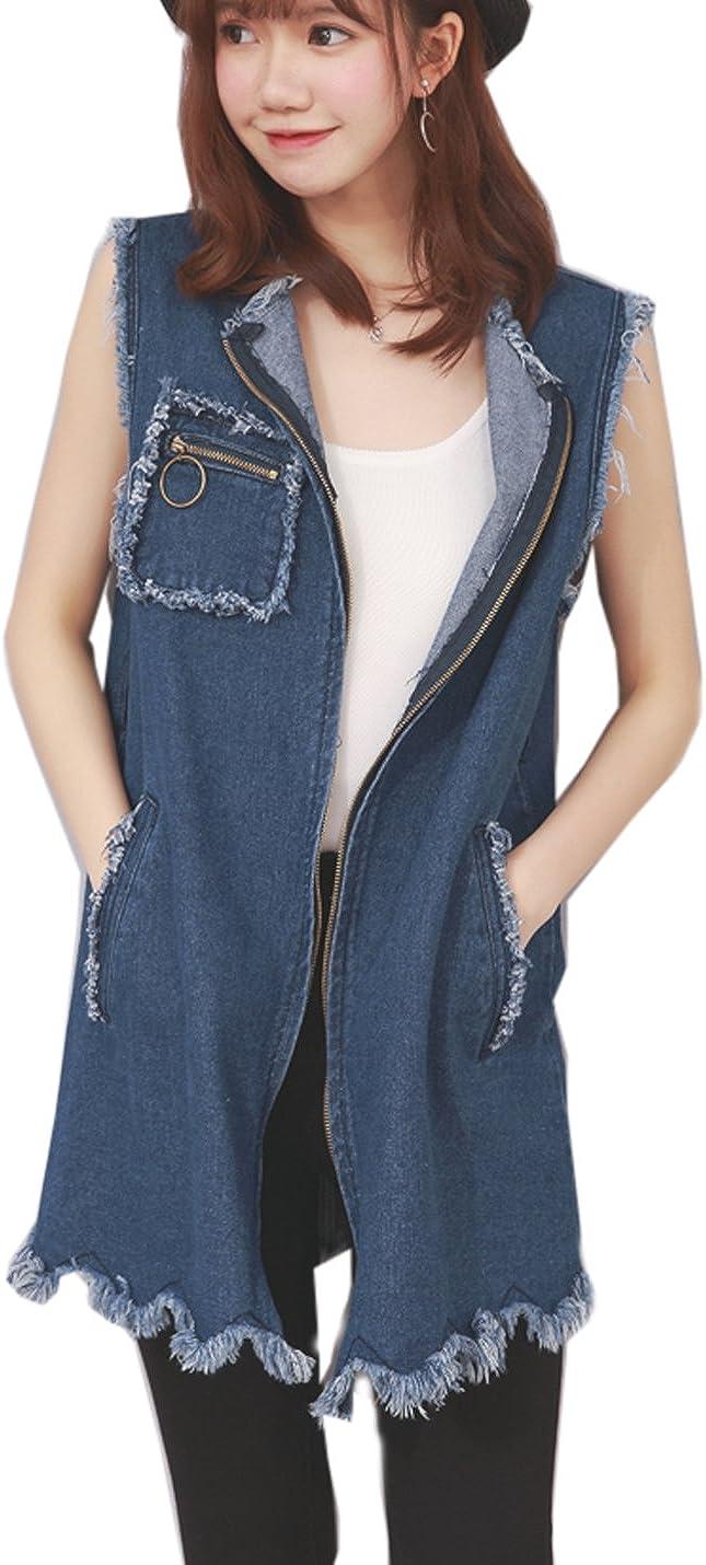 Flygo Women's Plus Size Denim Vest Casual Loose Sleeveless Zip Tassels Jean Waistcoat Jacket