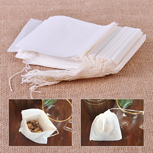 100x Filter Paper Drawstring Bag Herbs Tea Cooking Soup Spice Filter Bag 10x8cm
