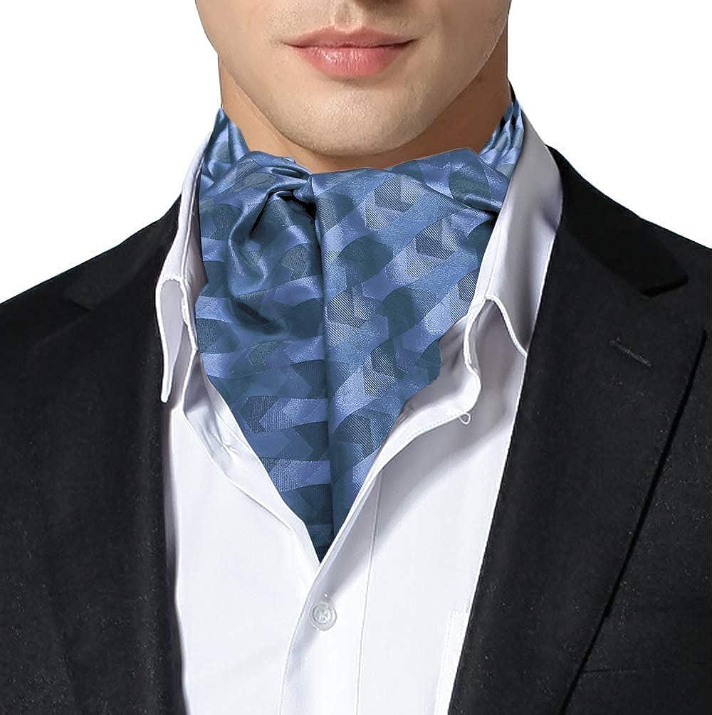 Remo Sartori Made in Italy Men's Silk Blue Pattern Self Cravat Ascot Tie