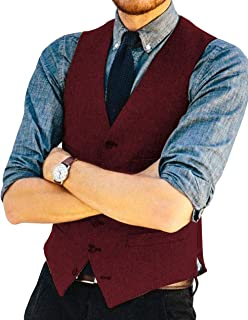 Keaac Mens Business Formal Dress Double Breasted Suit Vest,Waistcoat