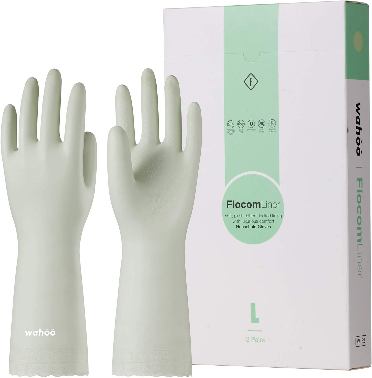 LANON Wahoo 3 Pairs PVC Household Cleaning Gloves, Reusable Dishwashing Gloves with Cotton Flocked Liner, Non-Slip, Medium : Health & Household