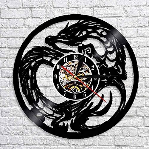 Usmnxo Elegante diseño de Reloj de Pared de dragón dragón Arte Animal Antiguo Disco de Vinilo Reloj de Escritorio decoración Creativa de la habitación LED con lámpara 12 Pulgadas (30 cm)
