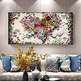 SHKJ Impresión de Lienzo Pintura de Amor Moderno Corazón de Colores Abstractos Flores Carteles Cuadro de Arte de Pared para Sala de Estar Hogar 60x120 cm / 23.6'x 47.2' Sin Marco