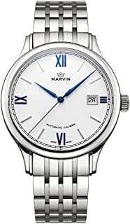 スイス製 Marvin 機械的ムーブメント ステンレスケース ステンレスブレスレットタイプ ホワイト文字盤 ブルーハンド ファッション腕時計