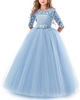 2018 Teenage Girl Princess Lace Solid Dress Kids Flower Embroidery Dresses for Girls Children Prom Party Wear Red Ball Gown,Blue,13
