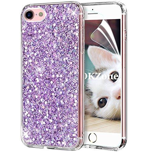 OKZone Cover iPhone 8,Custodia iPhone 7 Custodia Lucciante con Brillantini Glitters Ultra Sottile Designer Case Cover per Apple iPhone 7 / iPhone 8 4.7 Pollici (Viola)