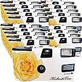 20x PHOTO PORST Hochzeitskamera / Einwegkamera 'gelbe Hochzeitsrose' (deutsche Bedienungsanleitung, mit Blitzlicht und Batterien, je 27 Fotos, ISO 400 Fuji)