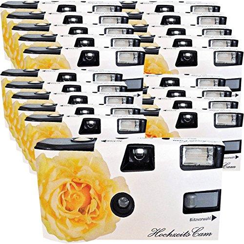 """20x PHOTO PORST Hochzeitskamera / Einwegkamera \""""gelbe Hochzeitsrose\"""" (deutsche Bedienungsanleitung, mit Blitzlicht und Batterien, je 27 Fotos, ISO 400 Fuji)"""