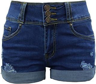 Short Jean Ete Femme,BUKINIE Femme Denim Shorts Taille Haute Bermuda Femmes Filles Vintage Taille Haute Slim d/échir/é Jeans Pantalon Chaud Short de Plage D/ét/é