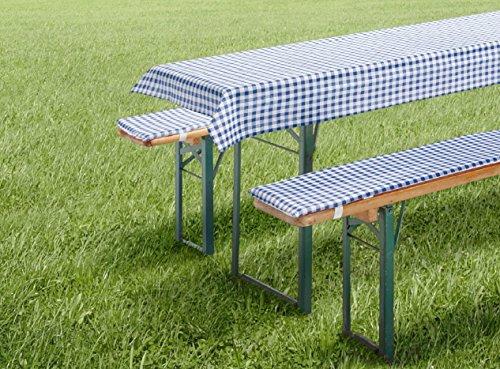 fashion and joy Auflagen Set für Bierzeltgarnitur Biergarniturauflage 3-teilig Vichy Karo blau kurz für Tischmaß 50x110 cm Tischdecke und Bierbankauflage Polster Bierbank Kissen Garten Typ331