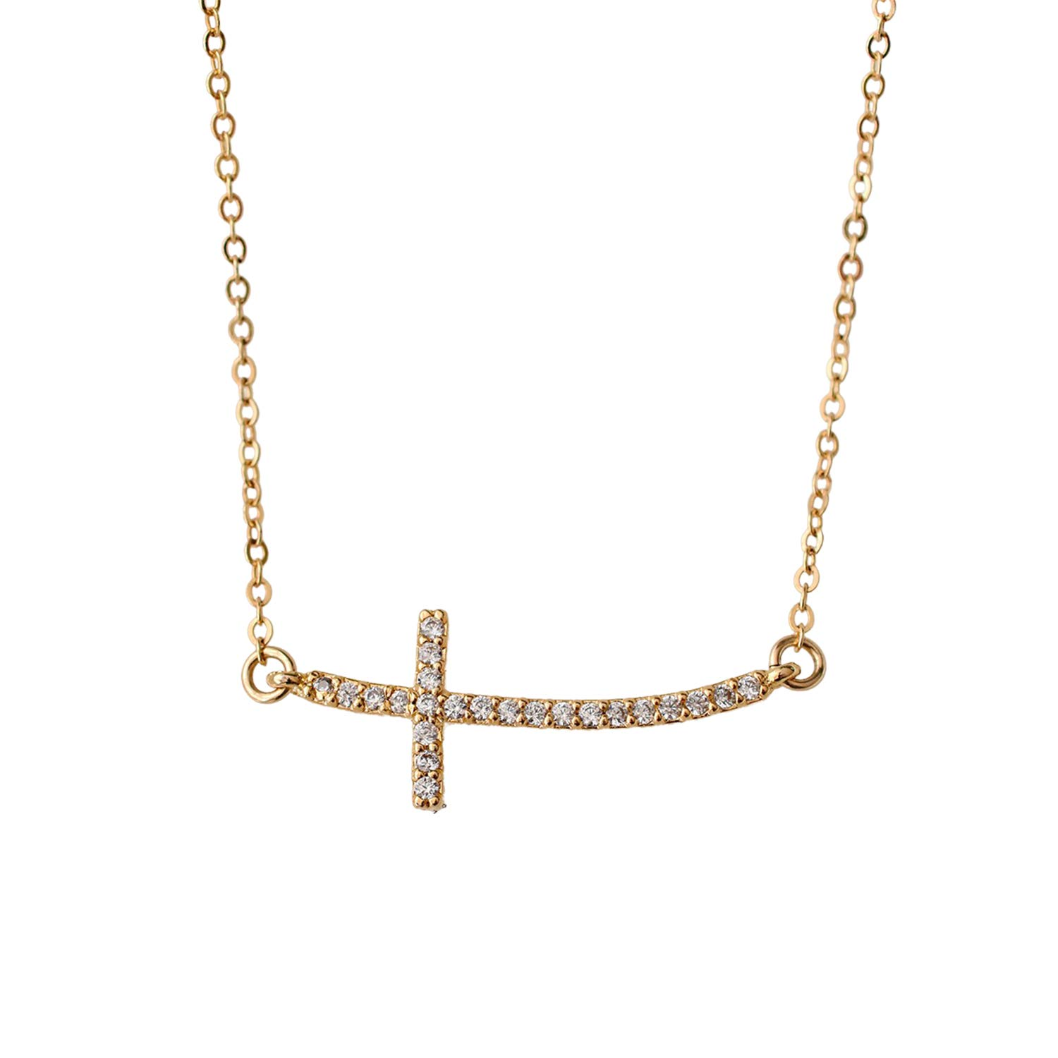Crystal CZ Sideways Cross Pendant Chain Spring new work Clearance SALE! Limited time! one after another - Necklace 1 Gold-Filled
