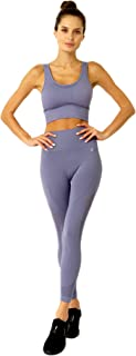 Women`s 2 Piece Mesh Seamless Compression Workout Set High Waist Legging + Sports Bra