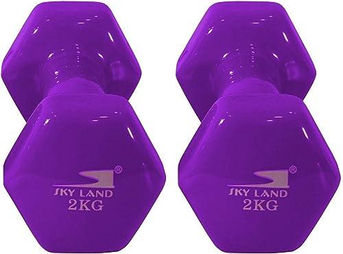 Classical Head Vinyl Dumbbell Set, 2kg x 2 - Purple, EM-9219-2