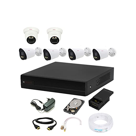 Cp plus 8 Channal HD DVR 1080p 1Pcs,Colorful View in Nightvision Indoor Camera 2.4 MP 2Pcs, Outdoor Camera 2.4 MP 4Pcs,1 TB Hard Disk,Full Combo Set