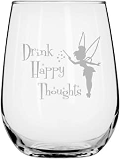 Fairy Wine Glass Disney-Inspired Stemless | Princess | Tinkerbell | Birthday | Housewarming | Wedding | Anniversary Present | by Laser Etchpressions | Drink Happy Thoughts