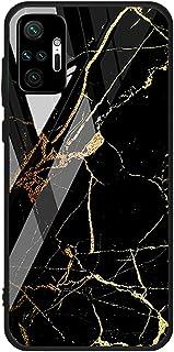 For Xiaomi Redmi Note 10 Pro / Redmi Note 10 Pro Max Case marble pattern tempered glass Back Cover (Black & Orange)