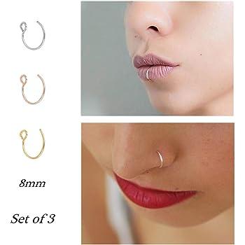 Amazon Com Fake Nose Ring Hoop Nose Rings Set Nose Piercing Lip