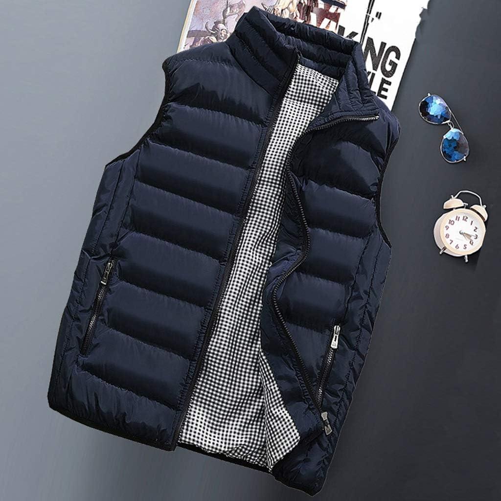 ZHAN YI SHOP Men's Down Cotton Vest, Stand Collar Padded Vest Coats, Men's Vest Jacket Thick Vest, for Outdoor Casual Autumn and Winter (Color : Light Blue, Size : S)