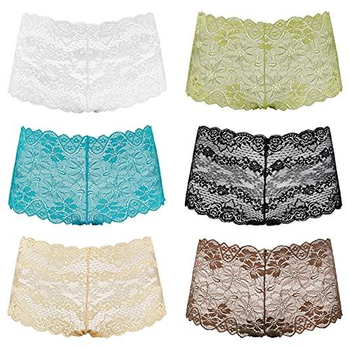 Curve Muse Lot de 6 Culottes Confortables en Dentelle Transparente Tanga Branché Shorts de garçons-Pack AM-S