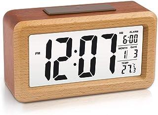 Phonleya Reloj Despertador Digital de Madera - Pantalla LCD Estilo Simple Sensor Inteligente Snooze Batería Reloj Desperta...