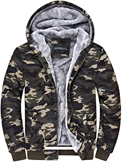 Camouflage Coats Fleece Hoodie Casual Zip Up Heavyweight Hooded Jacket for Men and Women