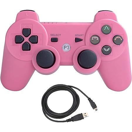 Aoityle PS3対応 ワイヤレスコントローラー 互換 USB ケーブル 日本語説明書 1年保証付き(ピンク)