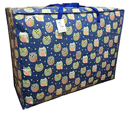 Pop-it-in-a-pelican Extra großer 115 ltr Aufbewahrungsbeutel Wasser- und staubdicht. Aufbewahrungstaschen mit Doppelreißverschluss für Wäsche, Bettwäsche. Unterbett Blaue schlafende Eulen