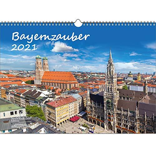 Bayernzauber DIN A3 Kalender für 2021 Bayern - Geschenkset Inhalt: 1x Kalender, 1x Weihnachts- und 1x Grußkarte (insgesamt 3 Teile)