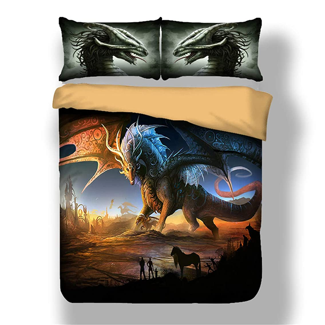 Guidear 3D Printed Dragon Beding Set for Kids Children Cartoon Dragon with Wings Duvet Cover with 2 Pillowcases Anti-Allergic Microfiber Comforter Cover Queen Size 90