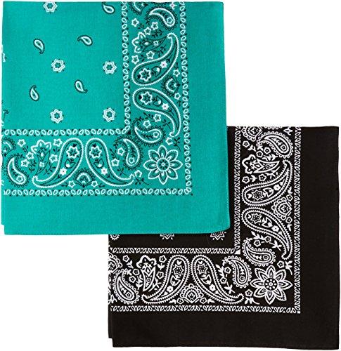 Levi's Men's 100% Cotton Multi-purpose Bandana Gift Sets – Headband, Wrap, Protective Coverage, Black/Green, Pack 2