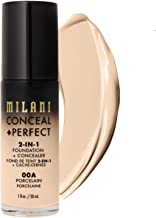 Milani Conceal + Perfect 2-in-1 Foundation + Concealer - Porcelain (1 Fl. Oz.) Cruelty-Free Liquid Foundation - Cover Under-Eye Circles, Blemishes & Skin Discoloration for a Flawless Complexion