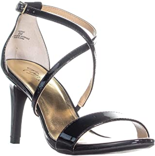 Womens Darria Fabric Open Toe Special, Black Patent, Size 9.0