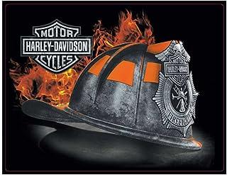 Placa de lata de capacete de bombeiro em relevo Harley-Davidson, 43 x 33 cm 2011251