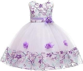 BestGift Pearl embroidery Kids Girls Flower Dress Baby Girl Birthday Party Dresses Children Fancy Princess Ball Gown Weddi...