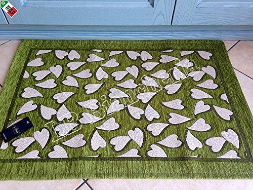 By Suardi - Alfombra decorativa de cocina con corazones Sweet Shabby Chic moderna de chenilla 55 x 190 cm, fabricada en Italia, verde