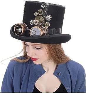 SHANGRUIYUAN-Hat Black Felt Steampunk Top Hat with Gold Metal Band, Gears, Bullet Cartridges Holiday Hat Wool Hat Elegant Ladies hat (Color : Black, Size : 61CM)