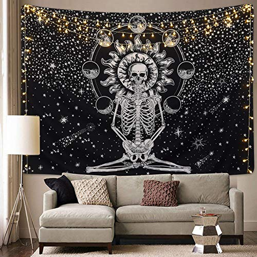 Sevenstars Skull Tapestry Meditation Skeleton Tapestry Chakra Tapestry Starry Tapestry Black and White Stars Tapestry for Room