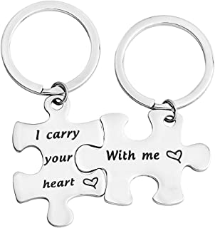 BNQL EE Cummings Poem Keychain I Carry Your Heart with Me Puzzle Keychain Set