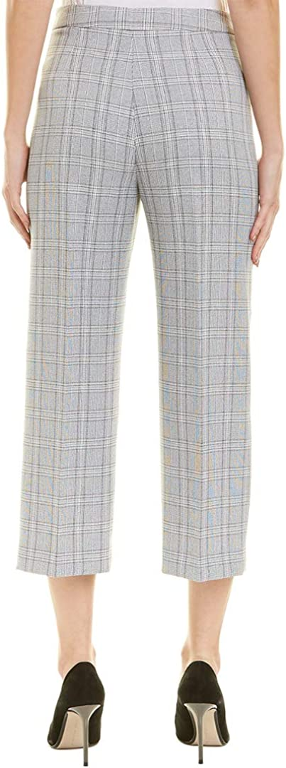 TAHARI Women's Wide Leg Plaid Side Zip Capri Cropped Pants