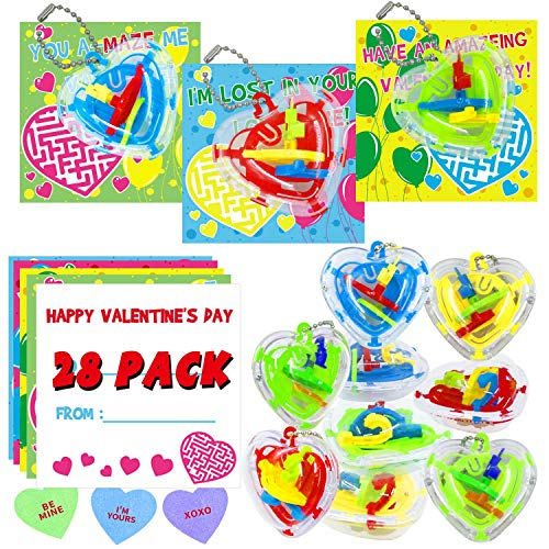 28 Packs Valentine's Day Cards for Kids Valentines Cards Set with 3D Heart Shape Maze Puzzle Games Perfect Gift Choice for Classroom Exchange Prize Cards and Valentine Party Favors - 24 Heart Stickers