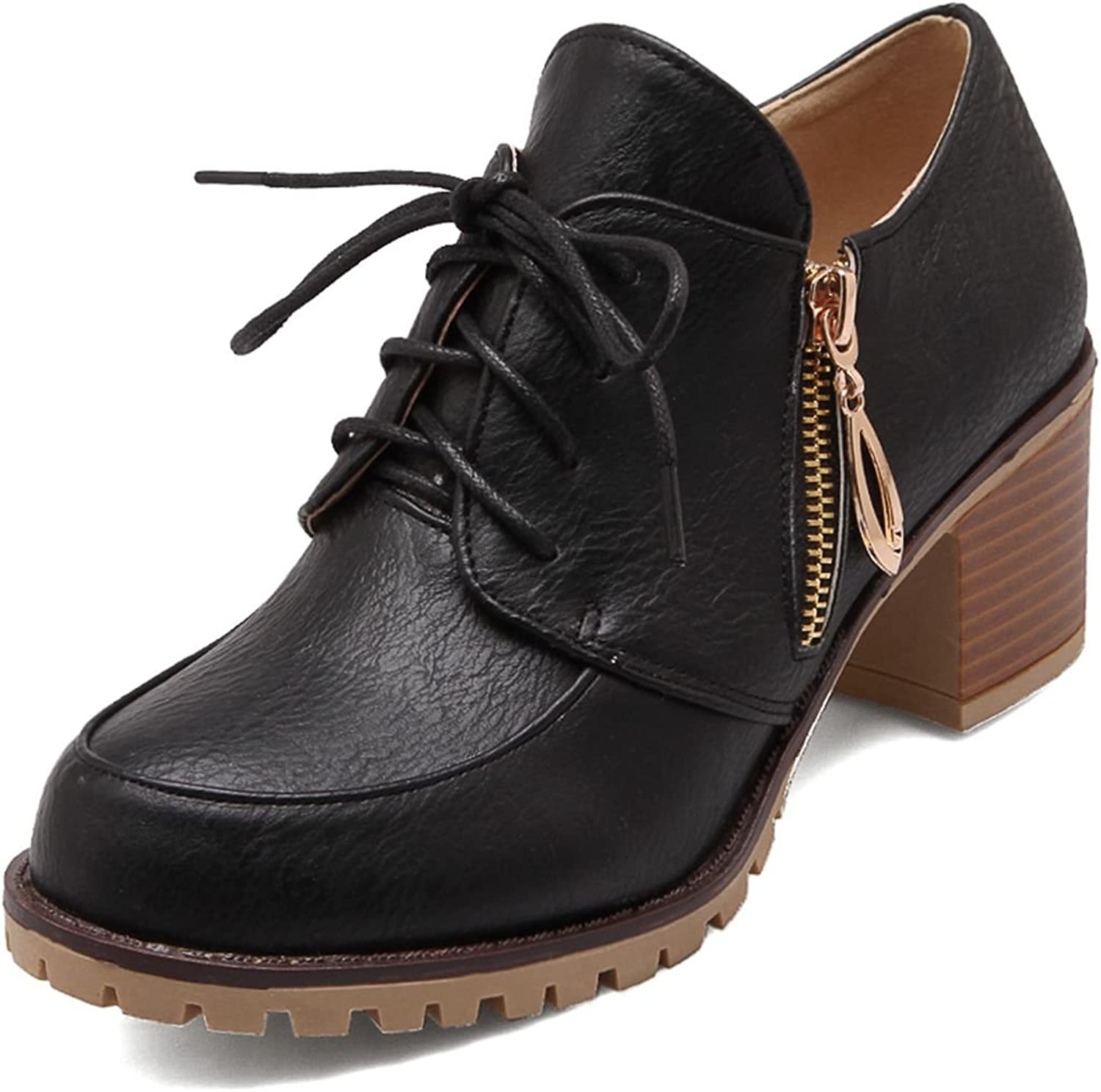 DoraTasia Women's Mid Flat Thick Heel PU Metal Pendant Lace Up Ankle Booties