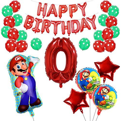 Yisscen 5 Año Super Mario Globos de Fiesta de Cumpleaños Set Látex de Puntos Pentagrama Pancarta Papel de Aluminio Helio Número 5 Globos Usado para 5 Año Niño Niña Aniversario Partido Decoraciones