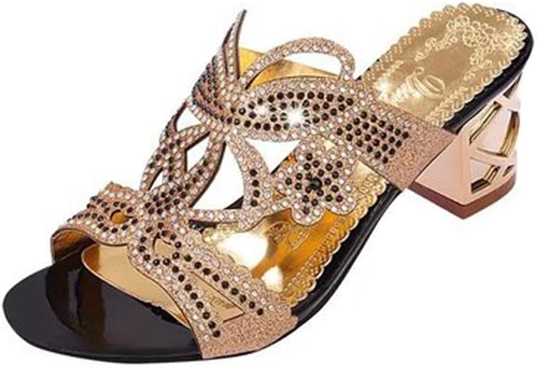 GIY Women's Fashion Rhinestone Wedges Sandals Platform Open Toe Anti-Slip Block Heel Glitter Wedding Slides